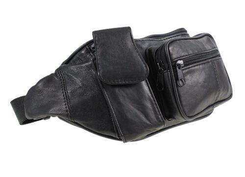 Genuine traditionnel en cuir souple noir Bum sac avec poche pour téléphone 1963