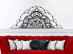 Half Mandala Flower Wall Decals Headboard Bedroom Vinyl Sticker - Wall decals headboard