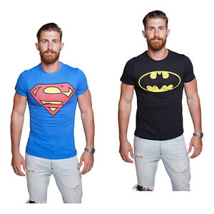 Course-Herren-Batman-Superman-T-Shirt-Comics-Hero-Held-Superheld-Rundhals-Sommer