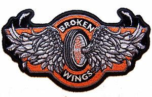 Broken wings biker vest iron on patch large aftermarket.