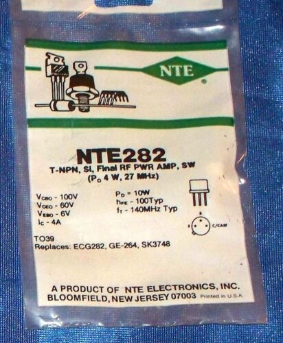 NTE Electronics NTE282 Silicon NPN Transistor Final RF Power Amp, Switch