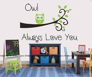 Owl Cute Baby Girl Boy Gift Love You Quote Birds Nursery Wall