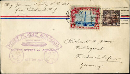 5I22B LZ127 FIRST FLIGHT AIRMAIL USGERMANY BL8950