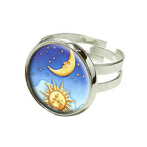 Moon And Stars Gold Ring Band