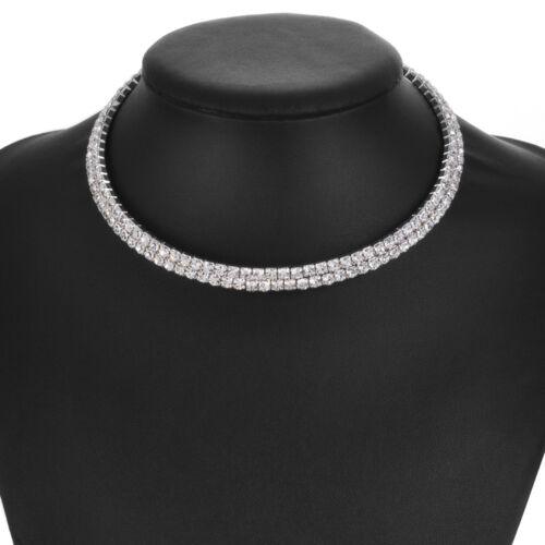 Strass Diamanten Silber Wunderschöne Halskette Choker Hochzeit Party Accessoires