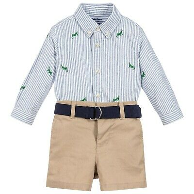 RALPH LAUREN baby boy navy cotton LS T-SHIRT 6//9M BNWT