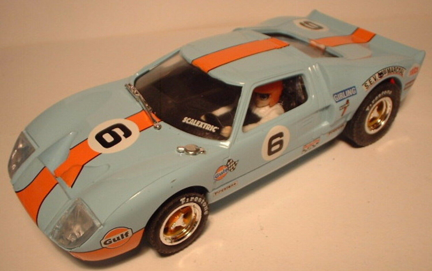 Qq SCX SPAIN PLANET CARS MYTHICAL FORD GT 40 blueE - orange STRIPE L. E.