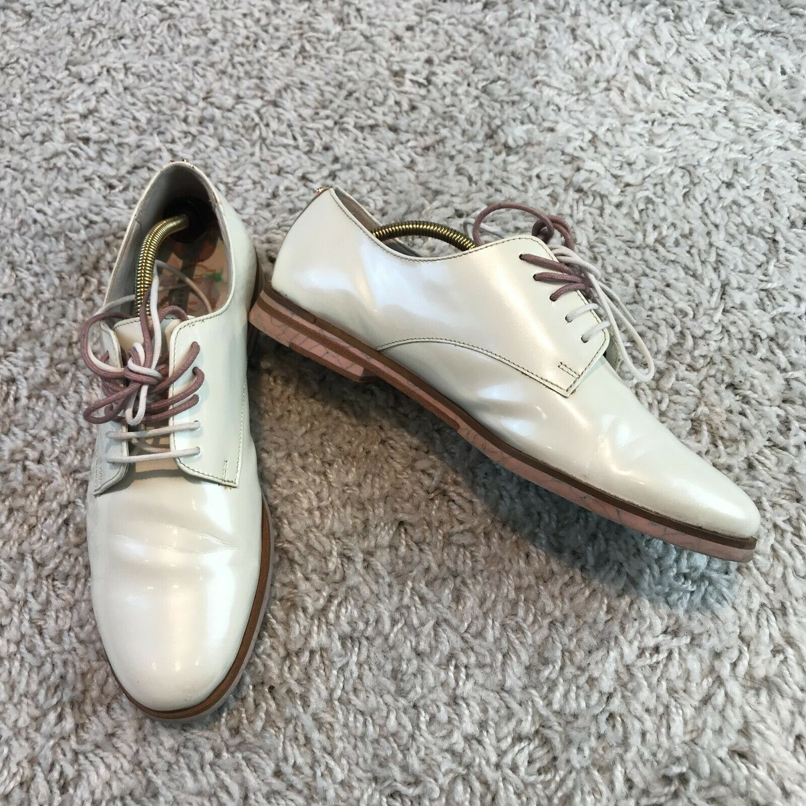 Ted Baker Loomi Womens Shoes UK 5 Eur 38 White Patent Leather Oxford