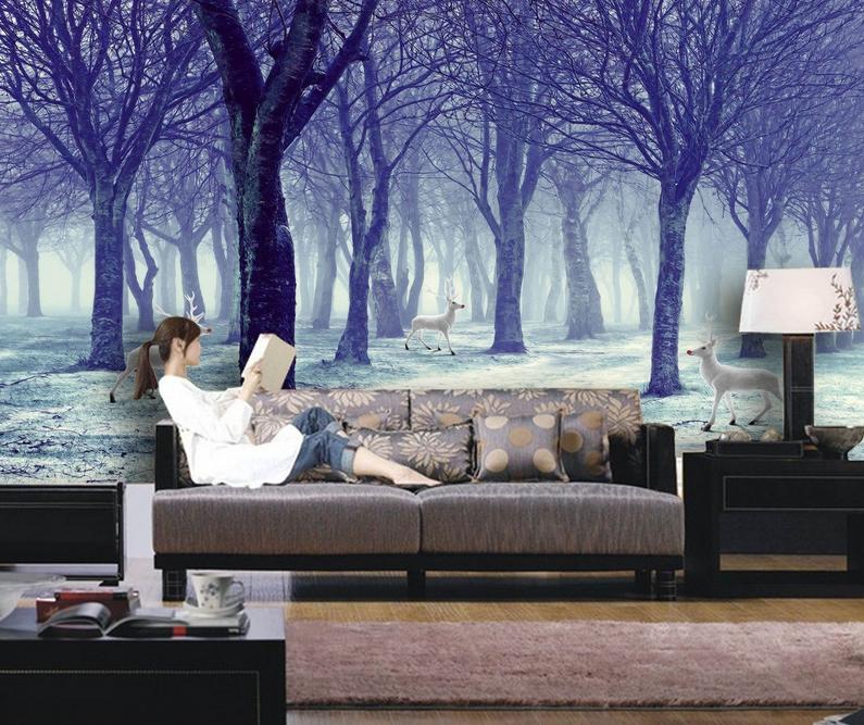 3D Schnee Wald Hirsch 8 Tapete Wandgemälde Tapete Tapeten Bild Familie DE Summer