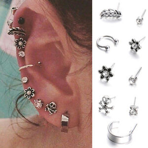 9-PCS-Set-Boho-Crystal-Flower-Stud-Earring-Feather-Skull-Retro-Fashion-Earrings