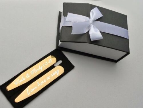 PERSONALIZED PREMIUM GOLD COLLAR STAYS CUSTOM ENGRAVED FREE