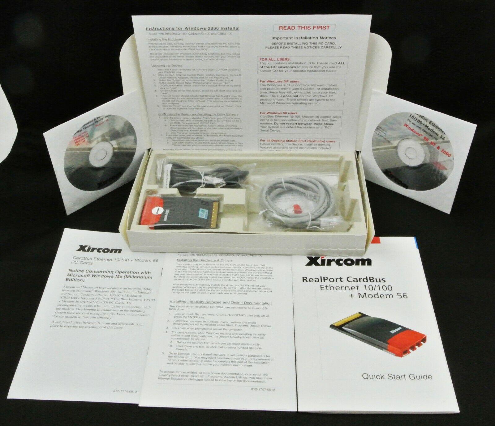 Xircom RealPort CardBus Ethernet 10/100 + Modem RBEM56G-100 NEW Shipped Daily