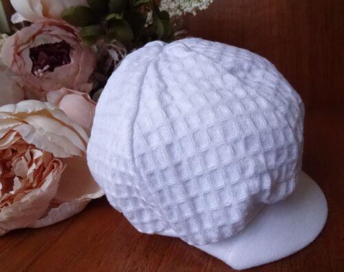 Baby Boys White Waffle Summer Poke Cap Hat 100/% Cotton Made in UK