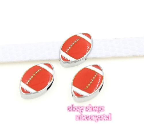 5pcs 8mm rugby Slider Charms Fit DIY Name Bracelet//Phone strip//Pet Collar SL475