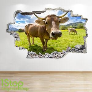 Camera Letto Sala Natura Fattoria Cortile Mucca Adesivo da Parete 3D Guardare