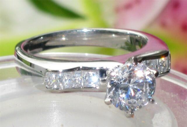 STR814   STAINLESS STEEL SOLITAIRE ENGAGEMENT RING SIMULATED DIAMONDS