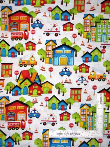 Fire Police City Town Buildings White Cotton Fabric HG/&Co Be My Hero By The Yard