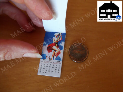 Vintage pin-up girls Scale 1:12 CAN Miniature Calendar 1954