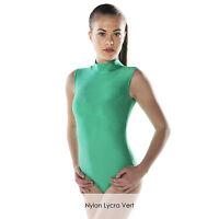 Ladies Nylon Lycra Dance Gear Gemma Polo Neck Sleeveless Dance Leotard