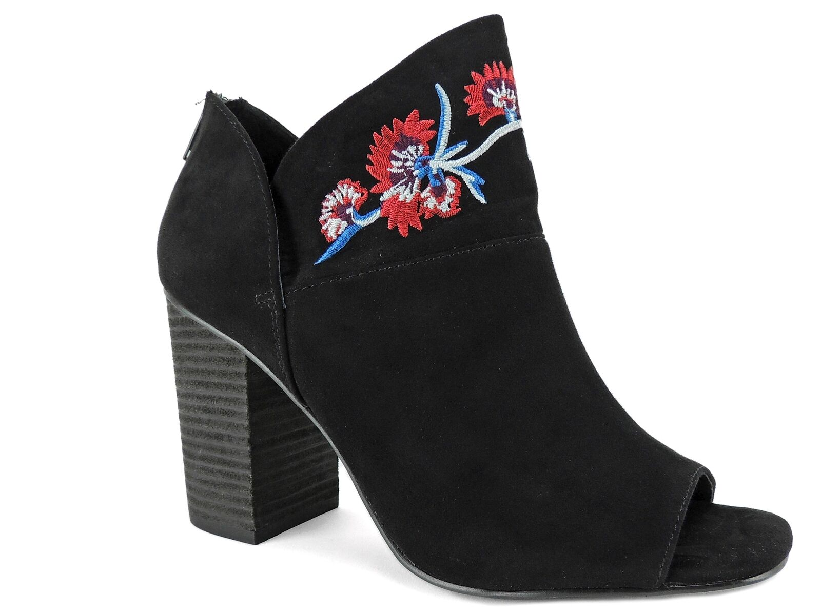 Carlos by Carlos Santana Women's Talana Embroidered Peep-Toe Booties Black 9 M
