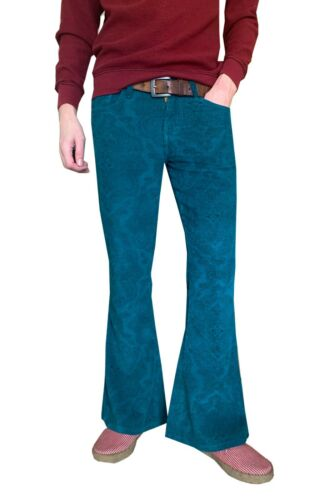 60s – 70s Mens Bell Bottom Jeans, Flares, Disco Pants   Mens Flares Paisley Turquoise Blue Bell Bottoms Corduroy Pants Hippie Trousers $42.63 AT vintagedancer.com