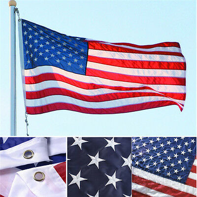3/'x5/' FT American Flag USA US Sewn Stripes Embroidered Stars Grommets Deluxe