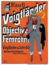 Voigtlander Cámara Lentes Alemania Vintage De Colección Publicidad Cartel 1579pylv