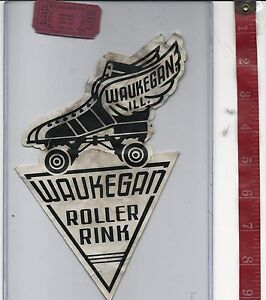 vintage lot roller rink decal Waukegan Rink Illinois & ticket FREE SHIPPING