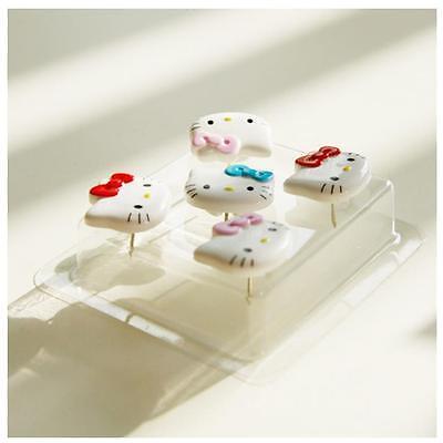 5 PCs Hello Kitty Face Thumbtack Office Home Pushpin Drawing Pin Board Push Pin