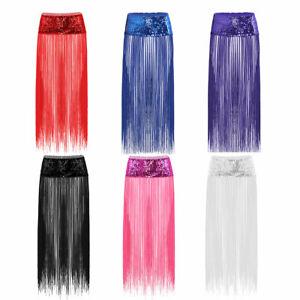 Women-039-s-Sequins-Hip-Scarf-Long-Tassel-Fringe-Belly-Dance-Wrap-Belt-Skirt-Tribal