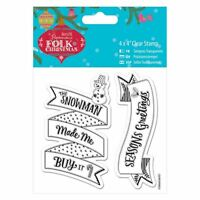 "Folk Christmas (Docrafts) - 4 x 4"" Clear Craft Card Stamp - Snowman"