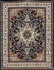 9x12 Isfahan BLACK Burgundy Brown Olive Oriental Modern Persian Area Rug 10x13
