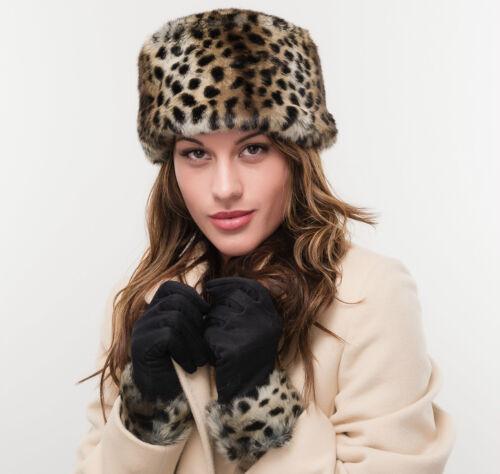 BRAND NEW LIGHT LEOPARD COLOUR LADIES FAUX FUR FLEECE WINTER HAT AND GLOVE SET