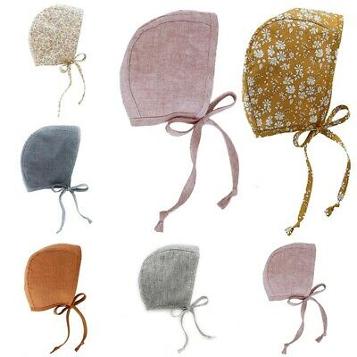 Baby Girl or Boy Bonnet Cap Soft and Breathable Cotton Linen Pilot Hat with Rope