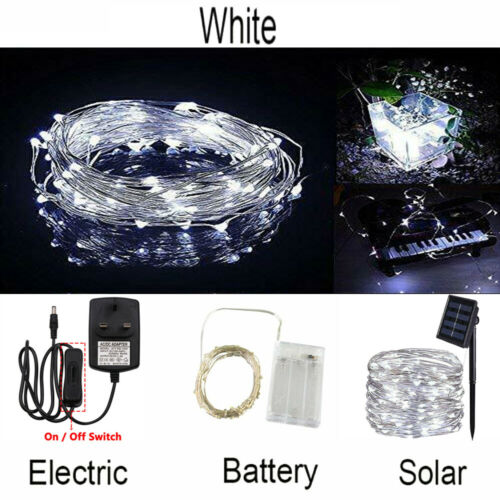 Details about  /20-400 LED Battery//Solar//UK Plug In Micro Rice Wire Copper Fairy String Lights