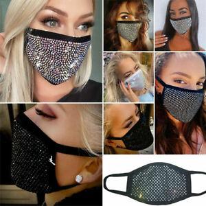 Damen Mundschutz*Maske*Glitzer*Pailletten*Stoffmaske*Bling Strass Kristall Maske