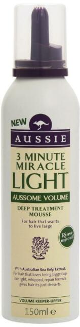 ** AUSSIE 3 MINUTE  MIRACLE LIGHT AUSSOME VOLUME TREATMENT MOUSSE  ** NEW 150ML