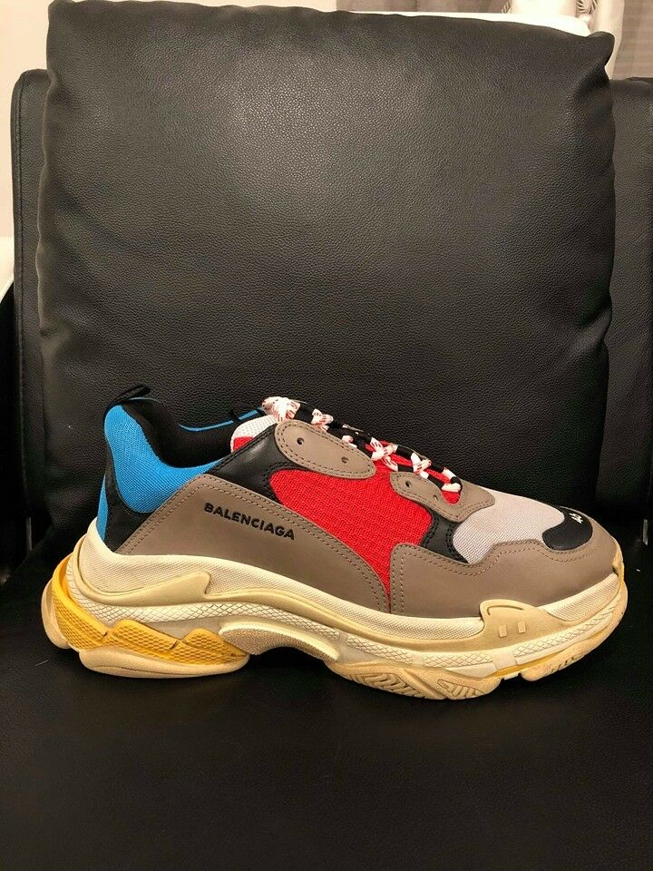 NIB Balenciaga Triple S scarpe da ginnastica ginnastica ginnastica grigio rosso blu Speed Flat Trainers 46 Uomo US 13 9375a9