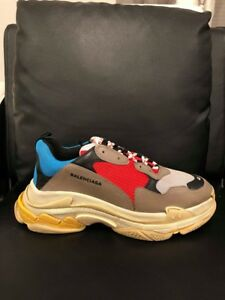 eea48eff2834 NIB Balenciaga Triple S Sneaker Grey Red Blue Speed Flat Trainers 46 ...