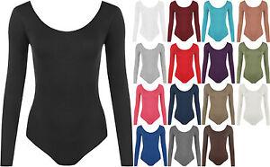 New-Plus-Size-Womens-Long-Sleeve-Scoop-Neck-Ladies-Bodysuit-Leotard-Top-16-26