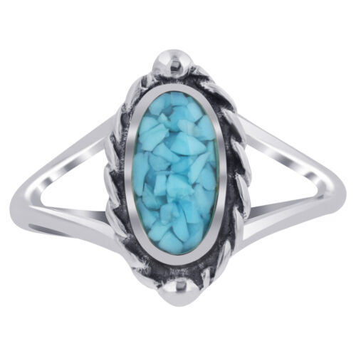 Argent Sterling 925 Bleu Turquoise Chip Inlay Forme Ovale Bali Ring