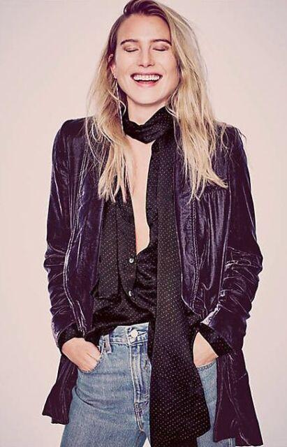 NEW Free People Purple Velvet Slouchy Yesterday's Muse Blazer Jacket XS $168