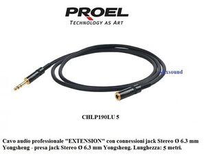 Caricamento dell immagine in corso Proel-CHLP190LU5-Prolunga-cuffie-Cavo- audio-EXTENSION-jack- 33789d399325
