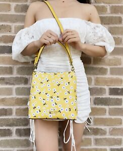 Kate Spade Darcy Fleurette Toss Small Bucket Crossbody Floral Daisy Yellow
