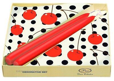 DECOUPAGE Tableware Decor Set JUICY CHERRIES 20 Paper Napkins 2 Candles / D