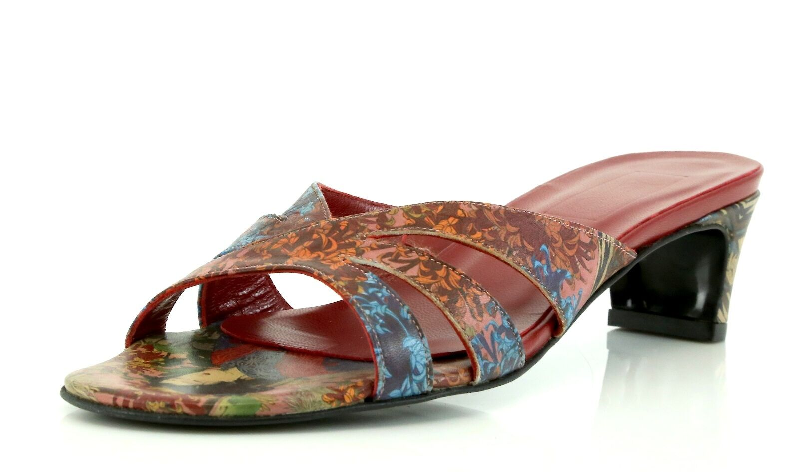 Icon FLOWER GEISHA rouge Leather Three Band Sandals 7368 Taille 7.5 M  NEW