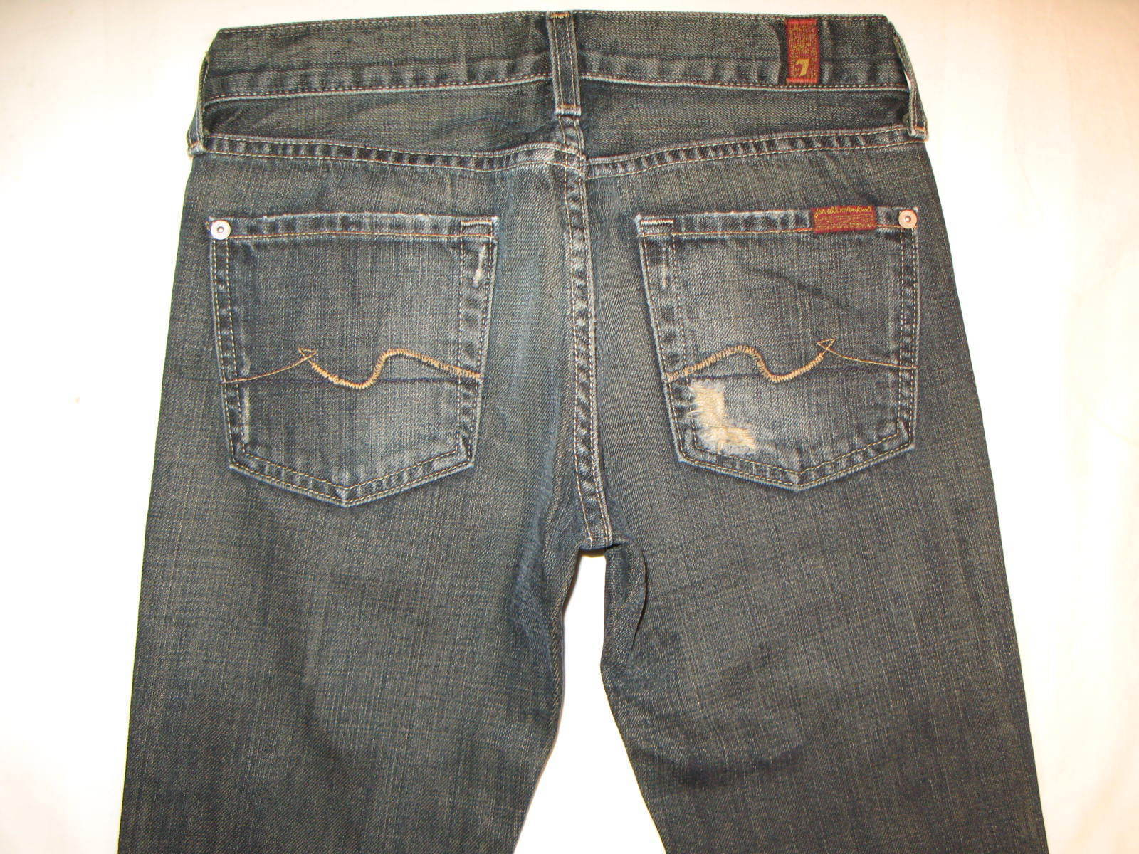 7 for all Mankind Womens Bootcut Jeans Sz 25 100% Cotton Dark Distressed