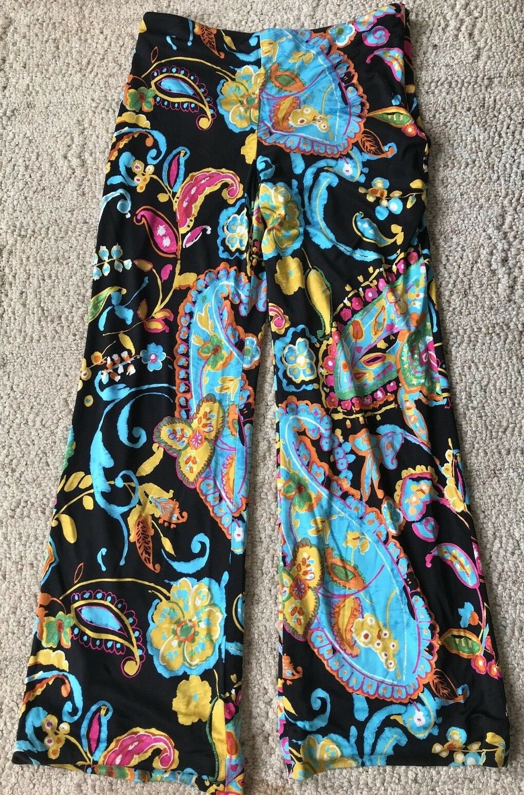 ️Ralph Lauren Silk Paisly Lined Print Pants Sz 10 Stretch Classy Multi Farbe ️