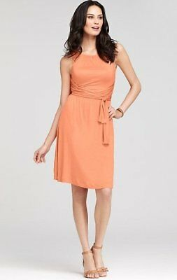 Ann Taylor Peach Soft Jersey Ruched Halter Wrap Sash Dress