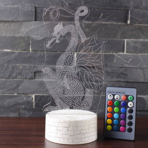 Long Tailed Dragon 3D Lamp USB Night Light Touch Table Lamps 7 Color Crack Base